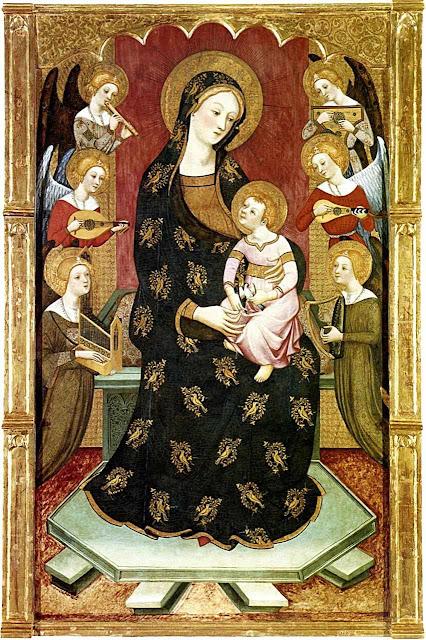 Mãe de Deus com os anjos. Pere Serra (1357 - 1406).