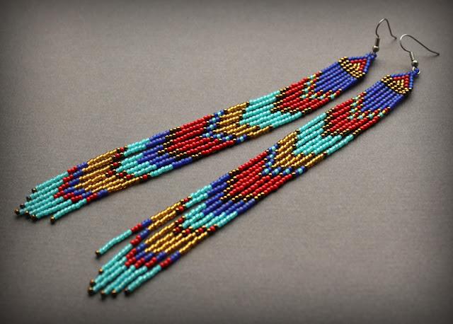 купить современные украшения в этно стиле длинные серьги до плеч