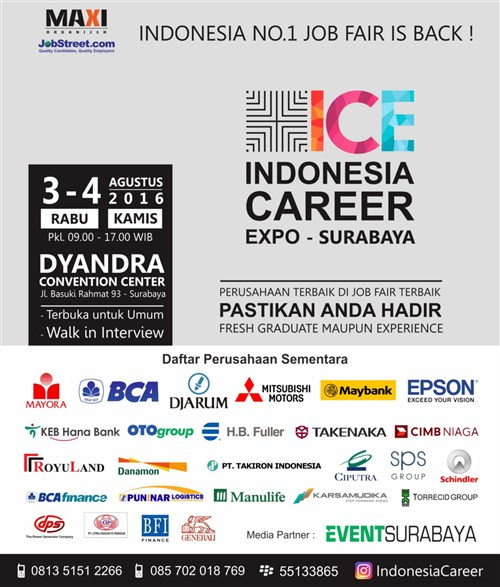Job fair Surabaya : Indonesia Career Expo 2016