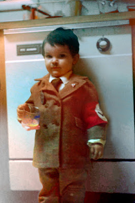 Fail baby dressed up like Nazi Hitler