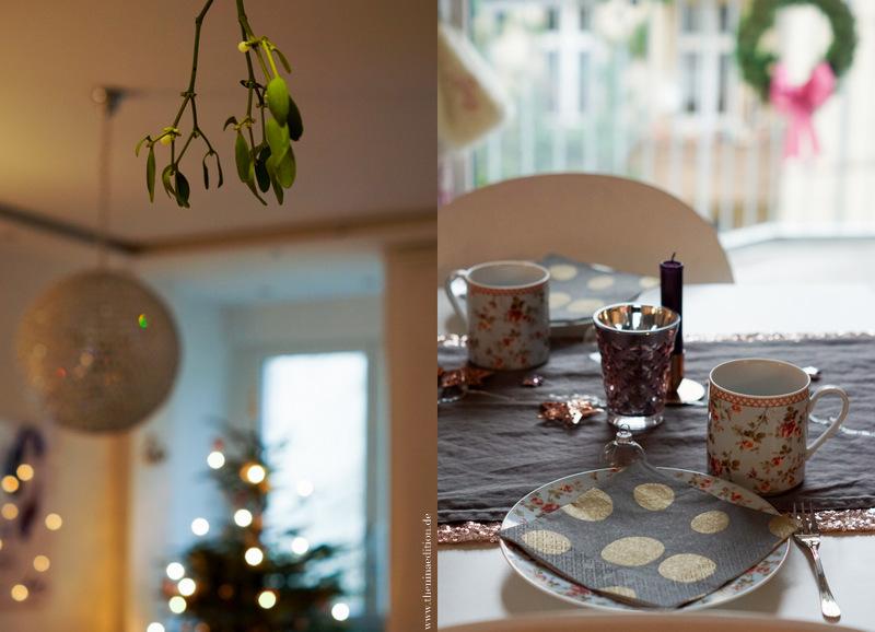 Mistelzweig und weihnachtliche Teetafel