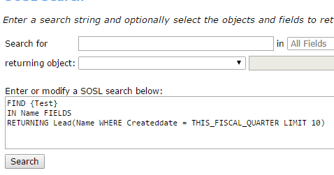 Infallible Techie: Example for SOSL(Salesforce Object Search