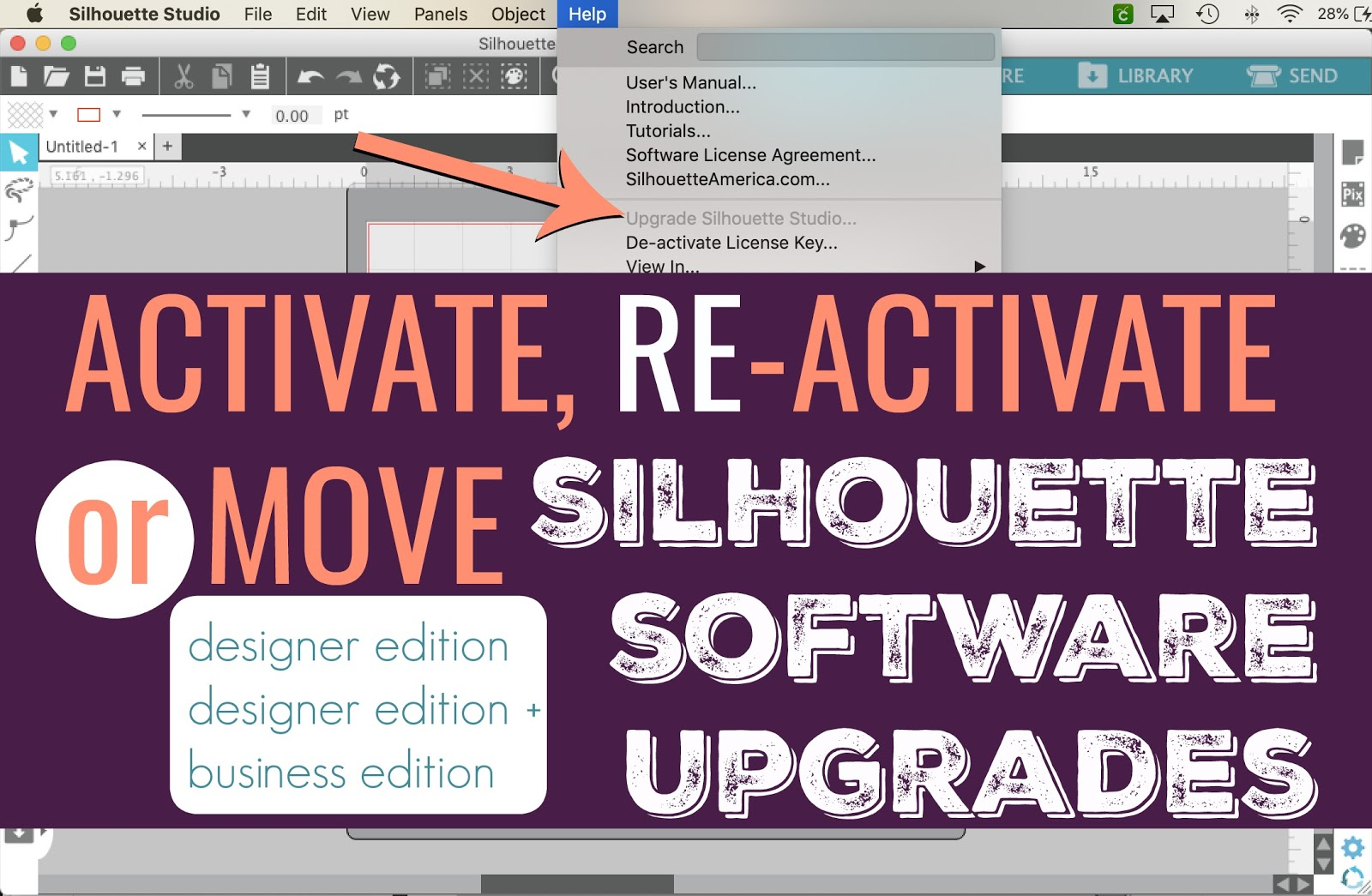 Activating Or Re Activating Silhouette Studio Designer Edition De Or Business Silhouette School