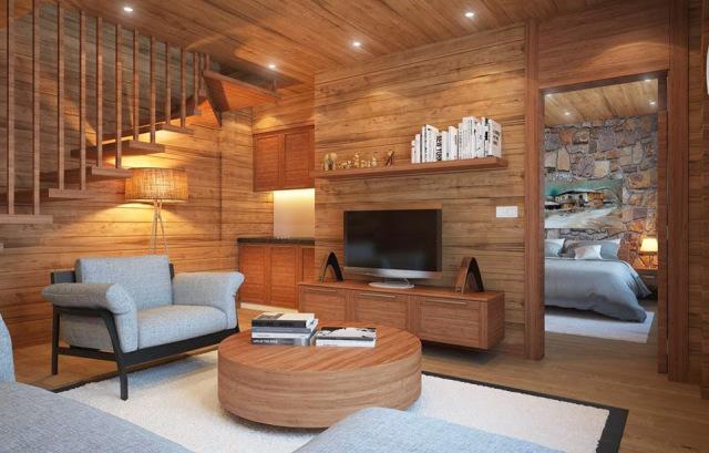 Ốp tường bằng gỗ trong phòng khách