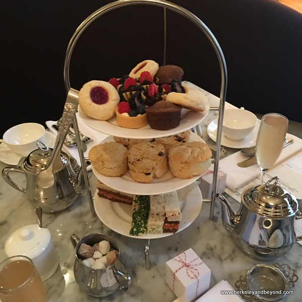 tiered tea tray for afternoon tea at Gracie's restaurant in Hotel deLuxe in Portland, Oregon