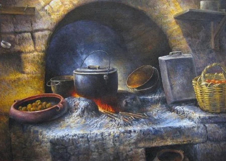 Pintura moderna y fotograf a art stica pinturas de - Cocina antigua de lena ...