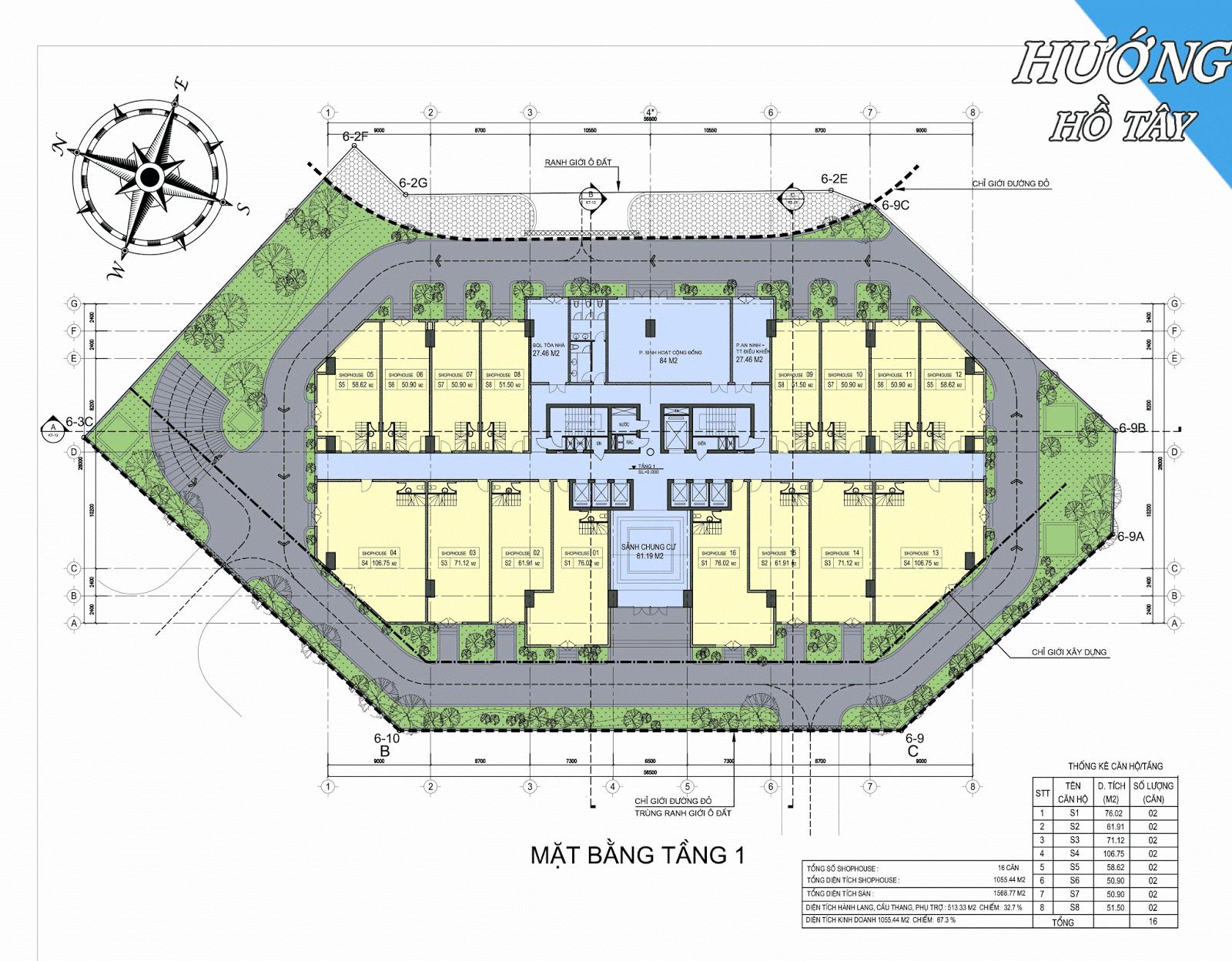 Mặt bằng tầng 1 dự án chung cư D'eldorado Phú Thanh.