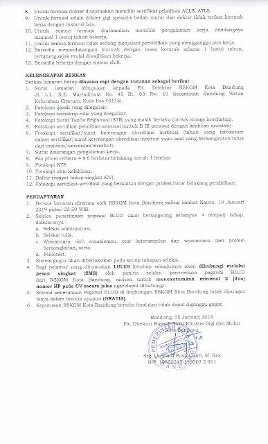 Penerimaan Pegawai BLUD Non PNS RSKGM Kota Bandung Tahun 2019
