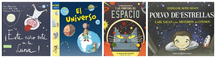 selección libros infantiles y cuentos sobre el espacio, estrellas, universo