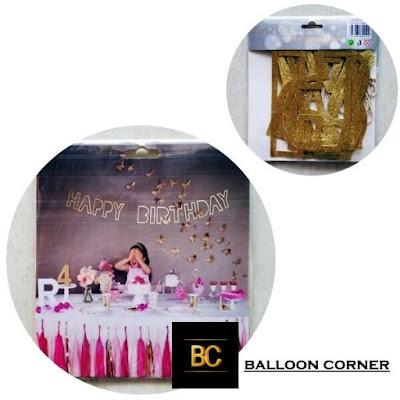 Bunting Banner HAPPY BIRTHDAY Model Huruf Line Glitter / Huruf Garis Glitter