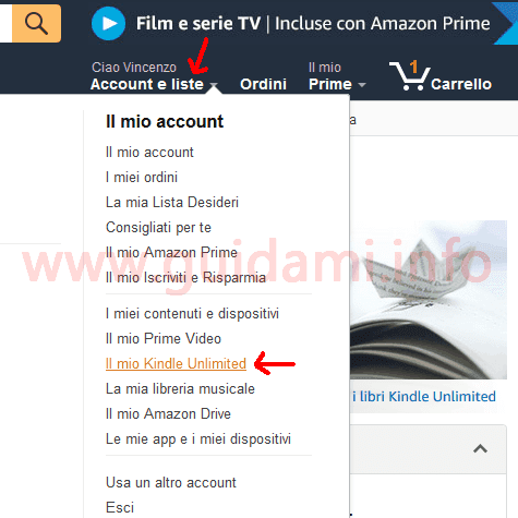 Amazon menu Account e liste Il mio Kindle Unlimited