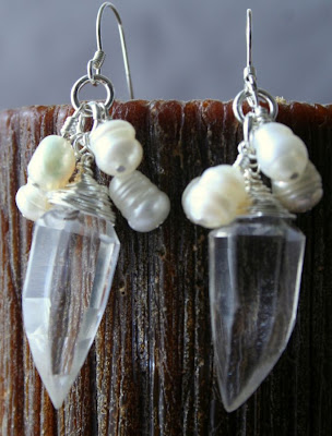 Audra (Noble strength): quartz, freshwater pearls, sterling silver, earrings :: All Pretty Things