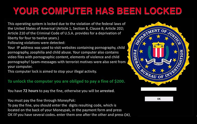 Your computer has been locked graphic - Ransomware attack screen graphic