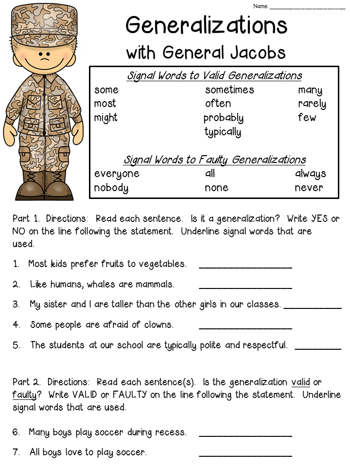 FREE generalizations worksheet! Check out this blog post that shares an anchor chart idea as well!