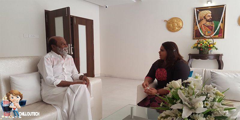 Super Rajinikanth met comedy actress Vidyu Raman at home.