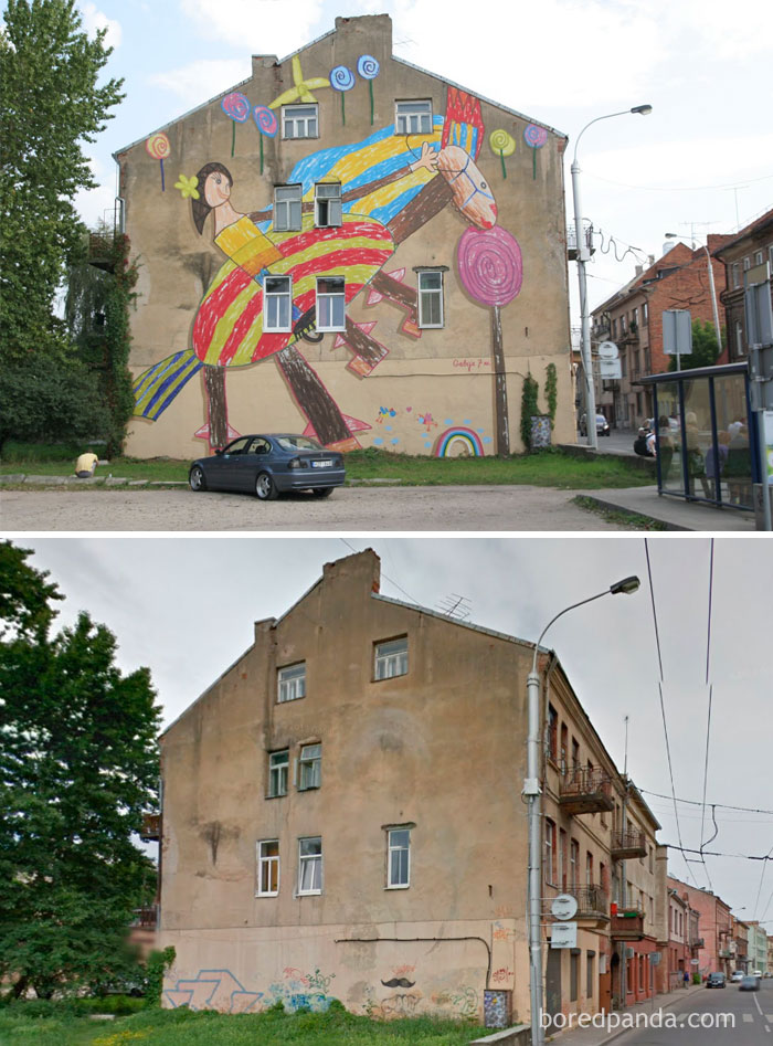 10+ Incredible Before & After Street Art Transformations That'll Make You Say Wow - Happy Childhood, Drawing Of A 7 Year Old Girl Which Was Moved On A Wall, Kaunas, Lithuania