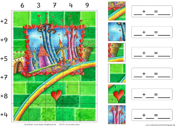 Suchen und Rechnen Zahlenraum 20 - Regenbogenstadt Motiv Sonja Mengkowski
