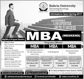 Bahria University Karachi, Bahria Karachi MBA Admissions