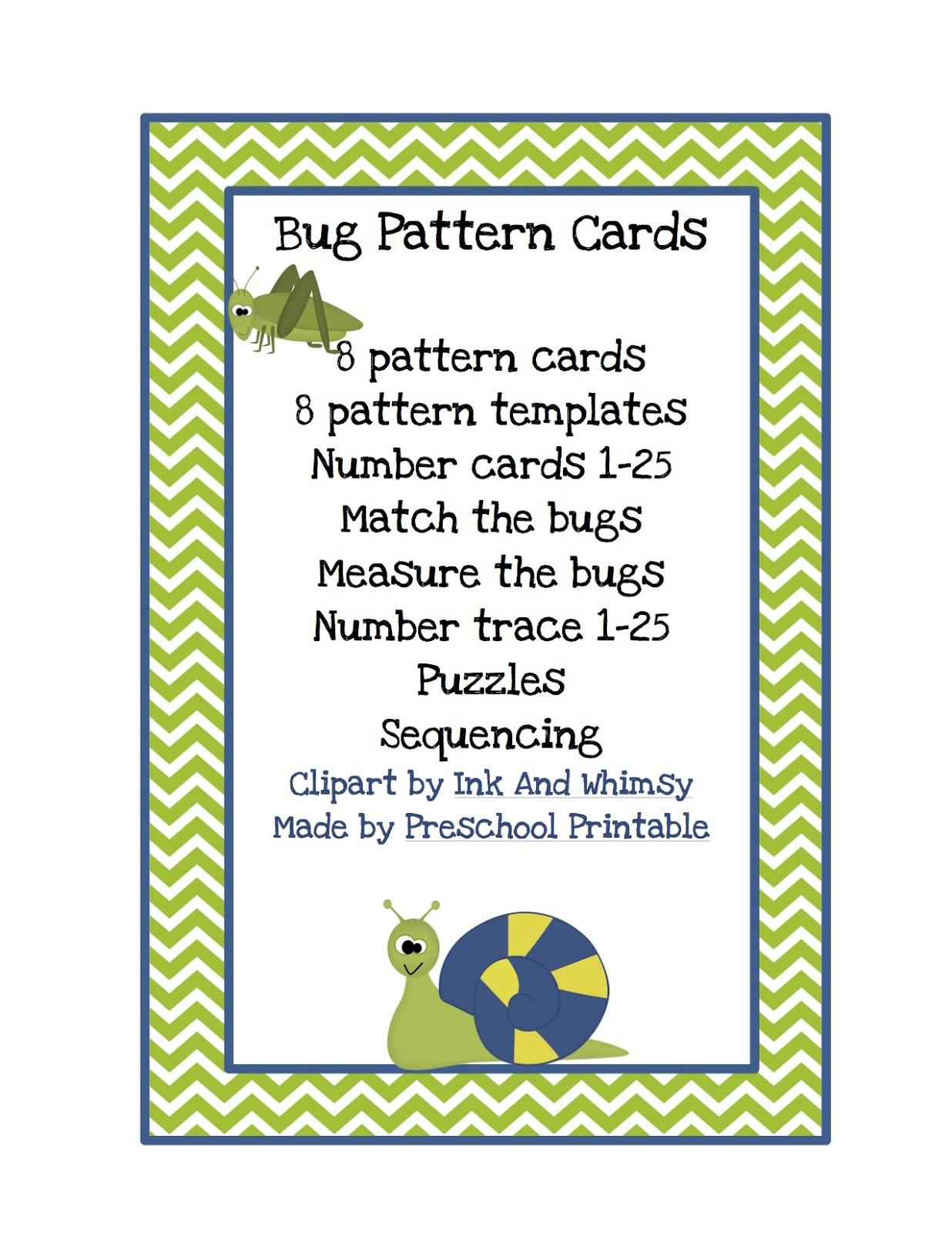 Bug Pattern Cards For Boys Preschool Printables