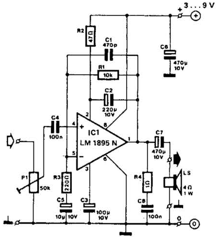 Wiring & diagram Info: LM1895N Audio Amplifier 1W