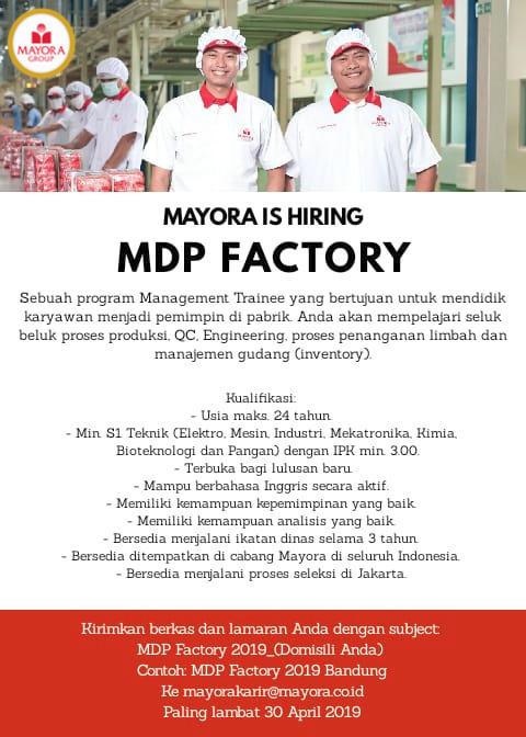 Rekrutmen Lowongan PT Mayora Indah Tbk