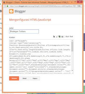 Cara menambahkan Widget Artikel/Postingan Terbaru di Blogger