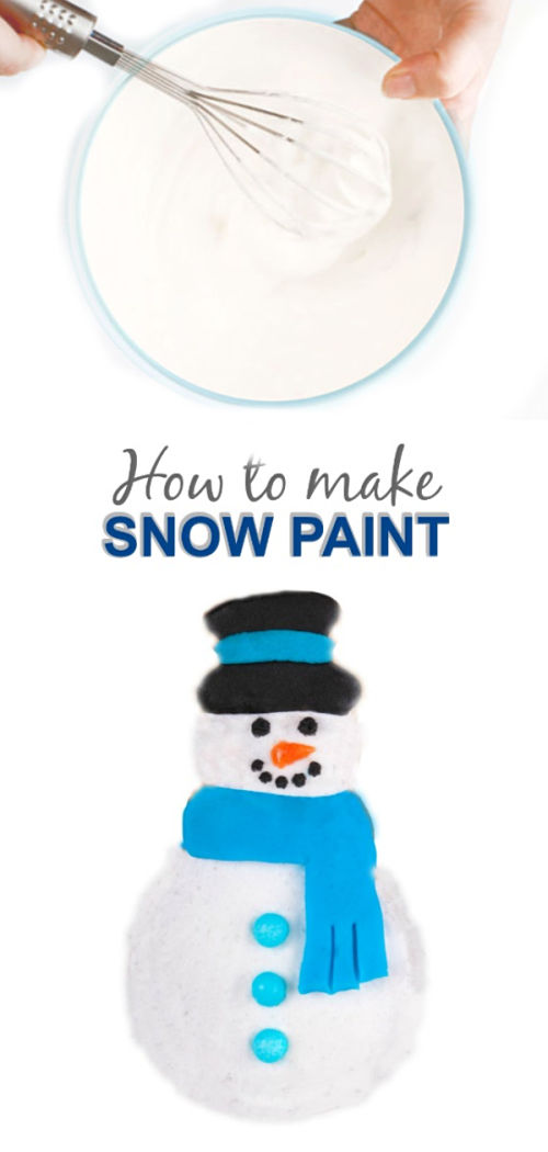 2-INGREDIENT SNOW PAINT.  It's icy-cold & dries puffy and raised!! #makesnow #makesnowforkids #snowpaint #snowpaintrecipe #snowpainthowtomake #snowpainting #snowpaintingforkids #snowrecipesforkids #growingajeweledrose