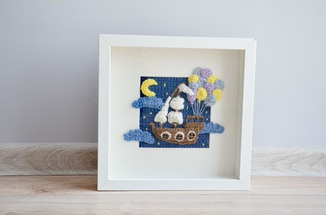 Krawka: Balloon ship crochet picture frame pattern - cutest fantasy themed wall decoration ever!