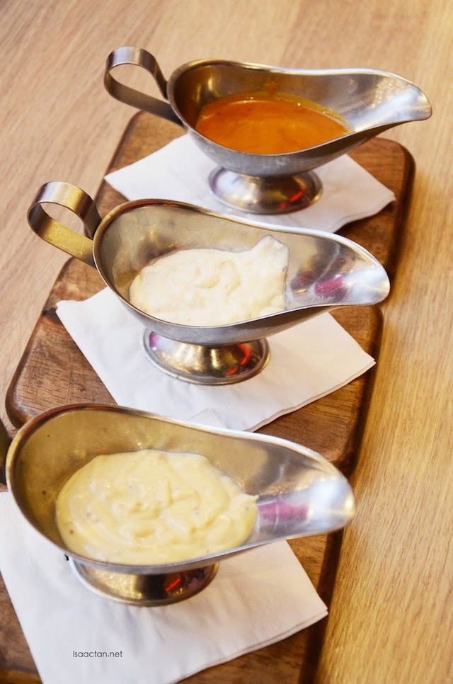 Choose from a variety of dips and sauces available from NY Steak Shack