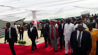With President Ellen Johnson, former Tanzanian President Benjamin Mkapa and other dignitaries arriving at the venue of the grand opening of the Olusegun Obasanjo Presidential Library in Abeokuta, Nigeria. PHOTO | Courtesy