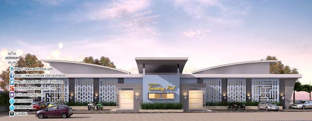 Desain Gedung Kolam Renang - Tampak Depan