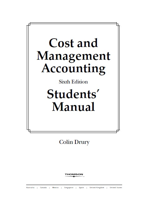 ICMAP(multan): Cost & Management Accounting by Colin Drury