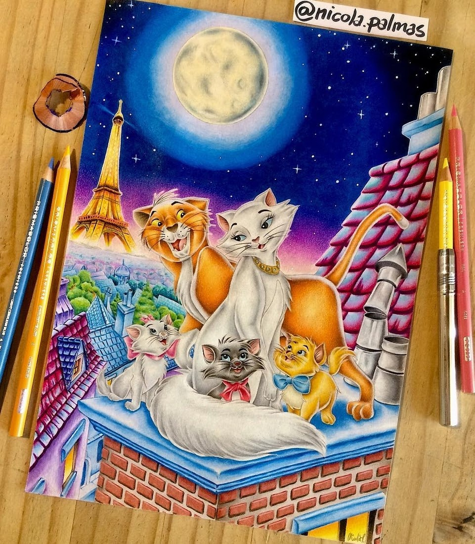 11-The-Aristocats-Nicola-Palmas-Walt-Disney-Characters-Art-Illustrations-www-designstack-co