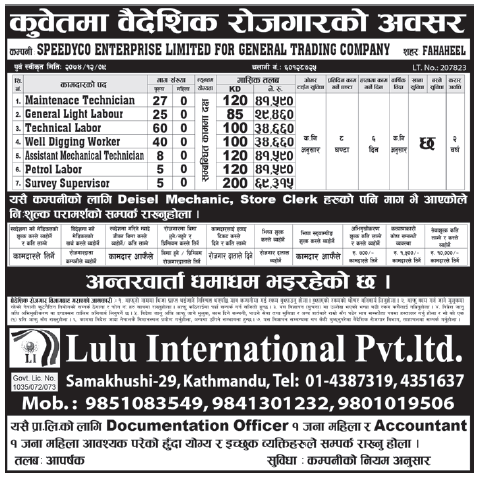 Jobs in Kuwait for Nepali, Salary Rs 69,315