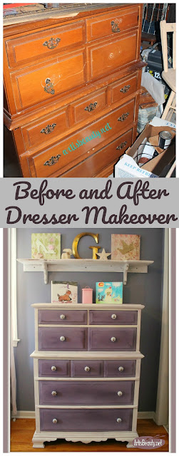 Before and after shabby chic new orleans purple girls dresser makeover bohochic diy do it yourself makeover painted