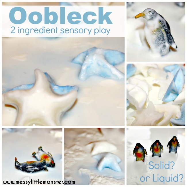 Frozen oobleck sensory play for toddlers and preschoolers.  A simple oobleck recipe using 2 ingredients.  Create a winter small world with penguins.
