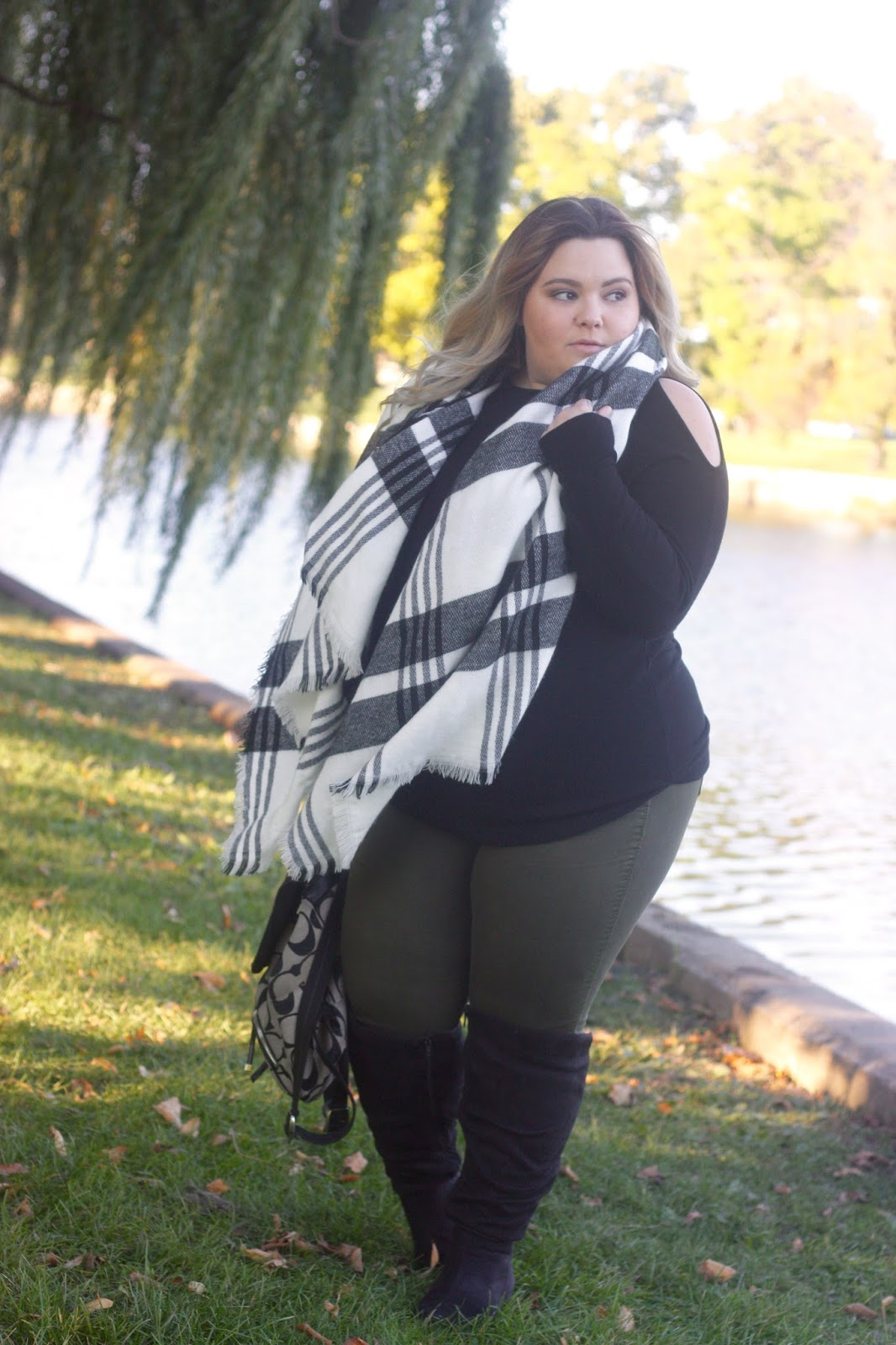 blanket scarf, meijer, meijer style, cargo skinny jeans, plus size style, plus size fashion, cold shoulder trend, sweater cut-out, natalie craig, natalie in the city, wide calf knee high boots, fashion blogger, chicago blogger, midwest blogger, plus size blogger, fall fashion 2016