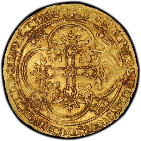 doble leopardo de oro de Eduardo III reverso