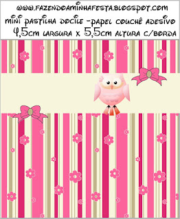 Pink Owl With Flowers and Stripes: Free Printable Candy Bar Labels for Quinceanera Party.