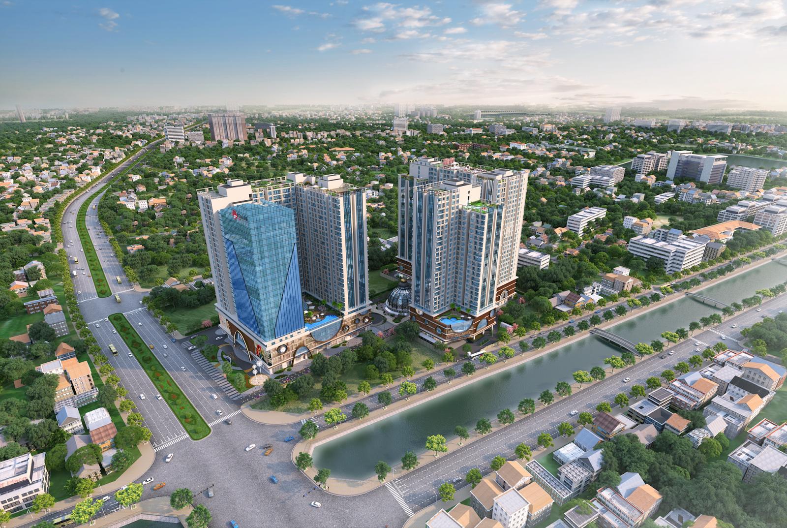 Hinode City nằm tại vị trí góc của đường Minh Khai và Kim Ngưu
