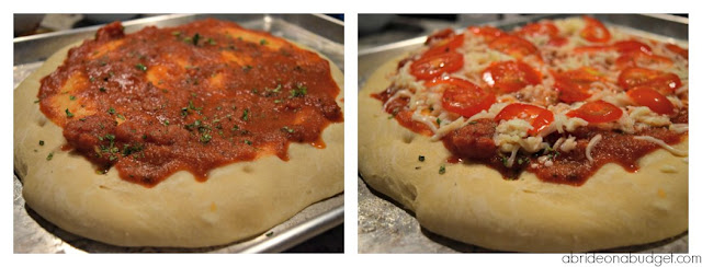 Pizza lovers! Try this focaccia bread pizza recipe from www.abrideonabudget.com!