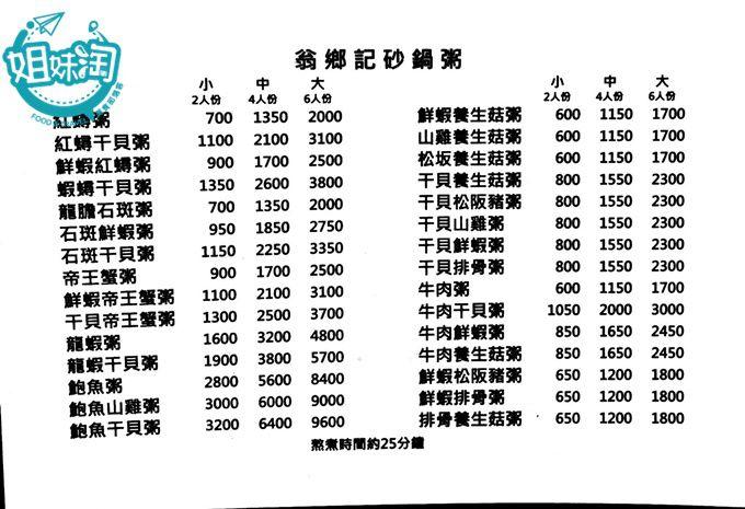 翁鄉記潮州砂鍋粥菜單,高雄宵夜推薦,高雄粥,六和美食,高雄熱炒