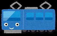 電車のキャラクターのイラスト(青)