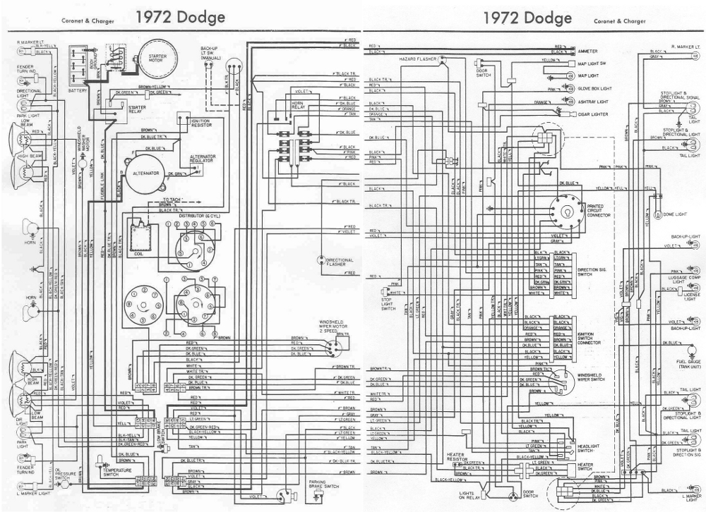 Dodge+Charger+and+Coronet+1972+Complete+Electrical+Wiring+Diagram dodge charger and coronet 1972 complete wiring diagram all about 1970 dodge charger wiring diagram at gsmx.co