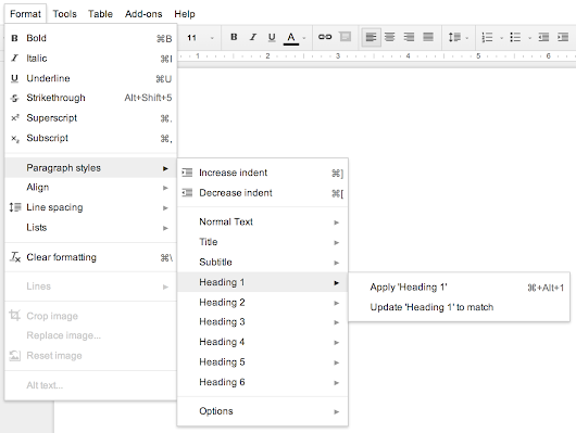 Google Docs: Make a Table of Contents