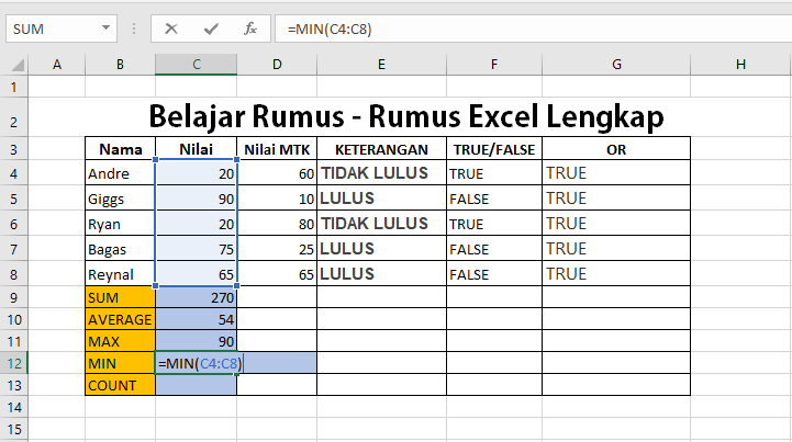 Belajar Rumus Excel Lengkap Part 2