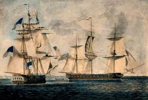 Batalla entre las fragatas USS Chesapeake (izquierda) y HMS Shannon de Boston durante la Guerra de 1812.