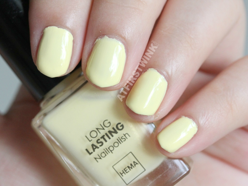 HEMA nail polish 443 - pastel yellow swatch
