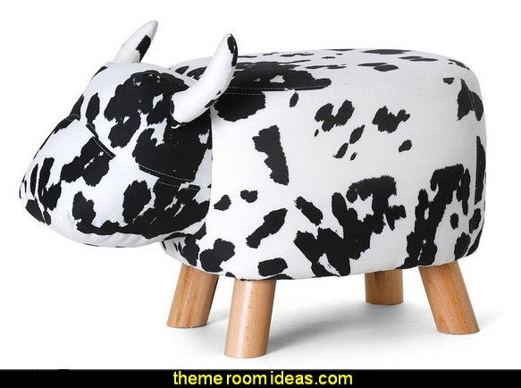 Ottoman Stool Cow Figure