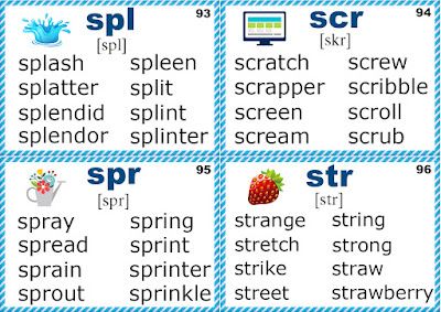 letter s blends, phonics flashcards for learning english
